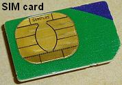 A SIM card for a cell phone
